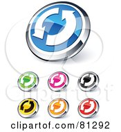 Digital Collage Of Shiny Colored And Chrome Renew Circling Arrows Website Buttons