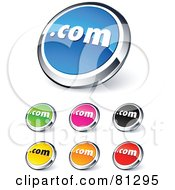 Royalty Free RF Clipart Illustration Of A Digital Collage Of Shiny Colored And Chrome Dot Com Website Buttons