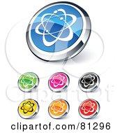 Digital Collage Of Shiny Colored And Chrome Atom Website Buttons