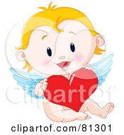 Royalty Free RF Clipart Illustration Of A Blond Baby Cupid Holding A Red Heart by Pushkin