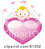 Royalty Free RF Clipart Illustration Of A Blond Cupid Baby Looking Over A Pink Heart Sign