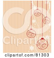 Royalty Free RF Clipart Illustration Of A Striped Christmas Background With Red Ornaments And White Snowflakes by Pushkin