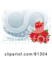 Royalty Free RF Clipart Illustration Of A Christmas Background With Snowflakes A Candle And Red Poinsettias by Pushkin