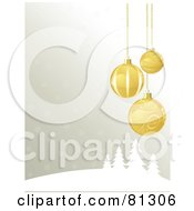 Royalty Free RF Clipart Illustration Of A Winter Christmas Background With Golden Ornaments Over Evergreens