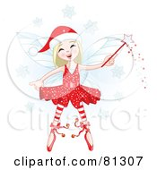 Royalty Free RF Clipart Illustration Of A Happy Blond Christmas Fairy Girl With A Magic Wand by Pushkin