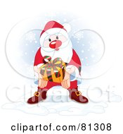 Royalty Free RF Clipart Illustration Of A Thoughtful Santa Holding Out A Gift While Standing In The Snow by Pushkin