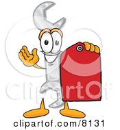 Wrench Mascot Cartoon Character Holding A Red Sales Price Tag