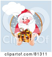 Royalty Free RF Clipart Illustration Of A Thoughtful Santa Holding Out A Present From A Snowy Circle With A Word Balloon by Pushkin