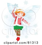 Royalty Free RF Clipart Illustration Of A Happy Redhead Christmas Fairy Girl In Christmas Clothes