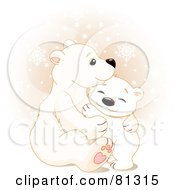 Royalty Free RF Clipart Illustration Of A Cute Polar Bear Cub Hugging His Mother by Pushkin