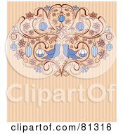 Two Love Birds In An Ornamental Scroll With Christmas Baubles On A Striped Background