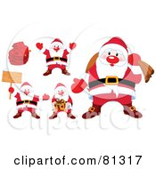 Royalty Free RF Clipart Illustration Of A Digital Collage Of Cute Santas With Bags Presents And Signs