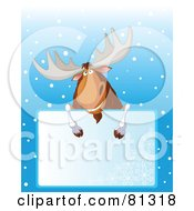 Grinning Christmas Moose Looking Over A Blank Snowflake Sign