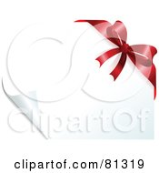 Royalty Free RF Clipart Illustration Of A Page Turning On A White Background With A Red Bow