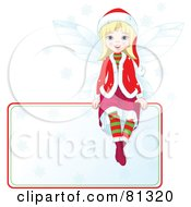 Royalty Free RF Clipart Illustration Of A Blond Christmas Fairy Girl Sitting On A Blank Sign by Pushkin