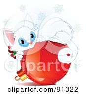 Royalty Free RF Clipart Illustration Of A Cute White Christmas Kitten Curled Up On A Red Bauble