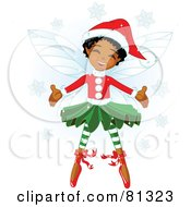 Royalty Free RF Clipart Illustration Of A Happy Black Christmas Fairy Girl In Christmas Clothes by Pushkin