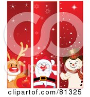 Royalty Free RF Clipart Illustration Of A Digital Collage Of Vertical Rudolph Santa And Frosty The Snowman Christmas Banners