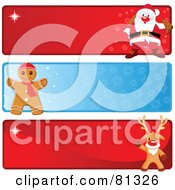 Royalty Free RF Clipart Illustration Of A Digital Collage Of Three Santa Gingerbread And Rudolph Christmas Banners by Pushkin