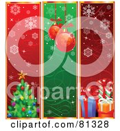 Royalty Free RF Clipart Illustration Of A Digital Collage Of Vertical Tree Bauble And Present Christmas Banners by Pushkin