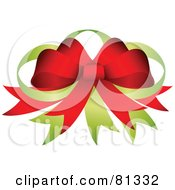 Royalty Free RF Clipart Illustration Of A Decorative Green And Red Bow Made Of Ribbon