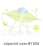 Royalty Free RF Clipart Illustration Of A Green Patchwork Alien Ufo With Stars by mheld