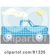 Royalty Free RF Clipart Illustration Of A Blue Patchwork Pickup Truck by mheld