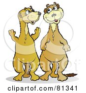 Royalty Free RF Clipart Illustration Of Two Happy Meerkat Friends