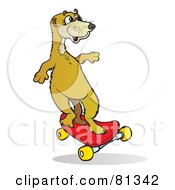Royalty Free RF Clipart Illustration Of A Meerkat Riding A Red Skateboard by Snowy