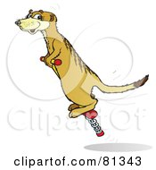 Royalty Free RF Clipart Illustration Of A Meerkat Bouncing On A Pogo Stick by Snowy