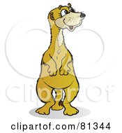 Royalty Free RF Clipart Illustration Of A Meerkat Standing And Looking Right by Snowy