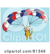 Royalty Free RF Clipart Illustration Of A Meerkat Paragliding In A Sky