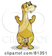 Royalty Free RF Clipart Illustration Of A Happy Meerkat Standing On His Hind Legs And Looking Right by Snowy