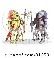 Royalty Free RF Clipart Illustration Of Two Knights Standing In Different Armor