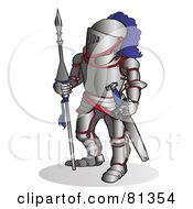 Royalty Free RF Clipart Illustration Of A Knight In Metal Armor by Snowy