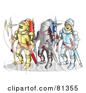 Royalty Free RF Clipart Illustration Of Three Knights In Different Armor by Snowy