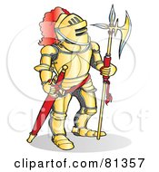 Royalty Free RF Clipart Illustration Of A Knight Standing In Gold Armor