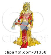 Royalty Free RF Clipart Illustration Of A Tough Queen Holding An Axe by Snowy