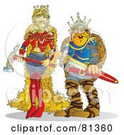 Royalty Free RF Clipart Illustration Of A Tough Queen And King Holding Swords by Snowy