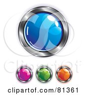 Digital Collage Of Colorful Shiny App Buttons With Chrome Trim