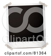 Royalty Free RF Clipart Illustration Of A Taped Blank Black Polaroid Picture