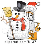 Clipart Picture Of A Wrench Mascot Cartoon Character With A Snowman On Christmas by Toons4Biz