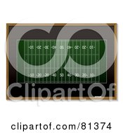 Royalty Free RF Clipart Illustration Of A Green American Football Sketch On A Black Board
