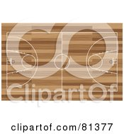 Royalty Free RF Clipart Illustration Of A Basketball Court Aerial On Wood