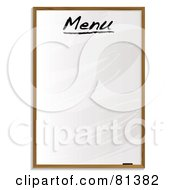 Royalty Free RF Clipart Illustration Of A Blank White Board Menu