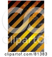 Royalty Free RF Clipart Illustration Of A Grungy Background Of Orange And Black Grunge Warning Stripes by michaeltravers
