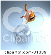 Royalty Free RF Clipart Illustration Of A 3d Goldfish Character Jumping Out Of A Bowl