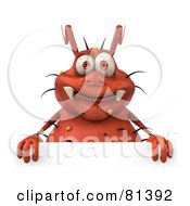 Royalty Free RF Clipart Illustration Of A 3d Rodney Germ Character Standing Behind A Blank Sign by Julos