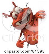 Royalty Free RF Clipart Illustration Of A 3d Rodney Germ Character Pointing To And Looking Around A Blank Sign