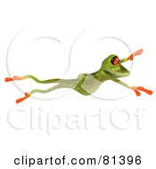 Royalty Free RF Clipart Illustration Of A 3d Green Tree Frog Taking A Large Leap